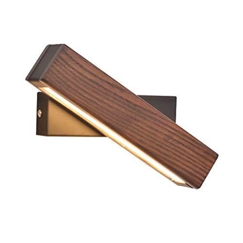 Rindasr Eenvoudige Japanse slaapkamerlamp, leeslamp, 360 ° verstelbare wandlamp, lampenkap van acryl, smeedijzeren behuizing van massief hout, designer-serie/LED-wandlamp