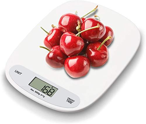 IceFrog Balance de Cuisine Électronique ,Balance Alimentaire Numérique Professionnelle 5 kg/1g,LCD Rétroéclairé, Arrêt Automatique et Fonction de Tare,avec Piles fournies
