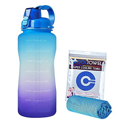 Owill Botella de agua con marcador de tiempo motivacional de 2 L con pajita, Tritan a prueba de fugas sin BPA, para fitness, gimnasio y deportes al aire libre