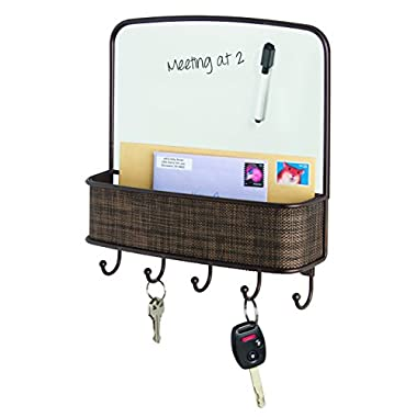 InterDesign Twillo Dry Erase Board, Mail Holder and Key Rack Organizer – Wall Mounted Letter Shelf and Key Hooks for Entryway or Kitchen, Bronze