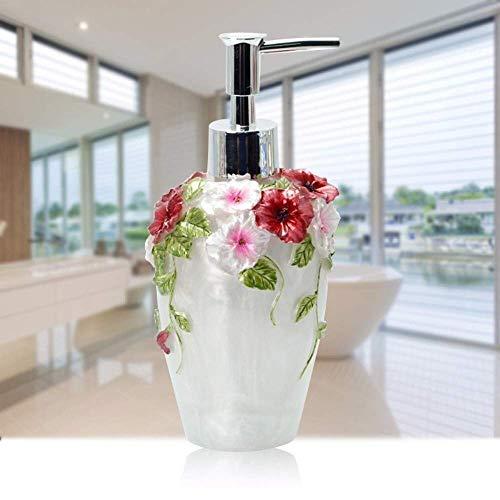 ZLXLX lotionsfles vloeibare zeepbak, crème eco hars art rode bloemen handdesinfectiefles, handsnijwerk vintage retro origineel ontwerp snelle extrusie navulbare zeepdispenser, 300