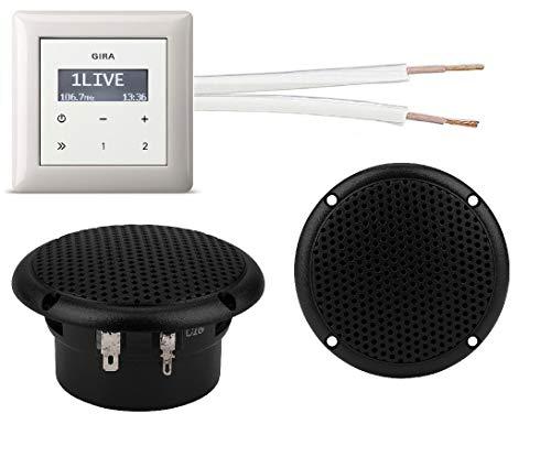 Gira Unterputz Radio Unterputzradio 228403 reinweiß glänzend Komplett-Set + 2 x Deckenlautsprecher schwarz (Feuchtraum/Badezimmer) Einbaulautsprecher + Radioeinheit + Rahmen + 20 m Lautsprecherkabel