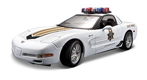 Maisto Chevrolet Corvette Z06 Politie: Modelauto met vering, schaal 1:18, deuren en motorkap beweegbaar, klaar model, bestuurbaar, 24 cm, wit (531383)
