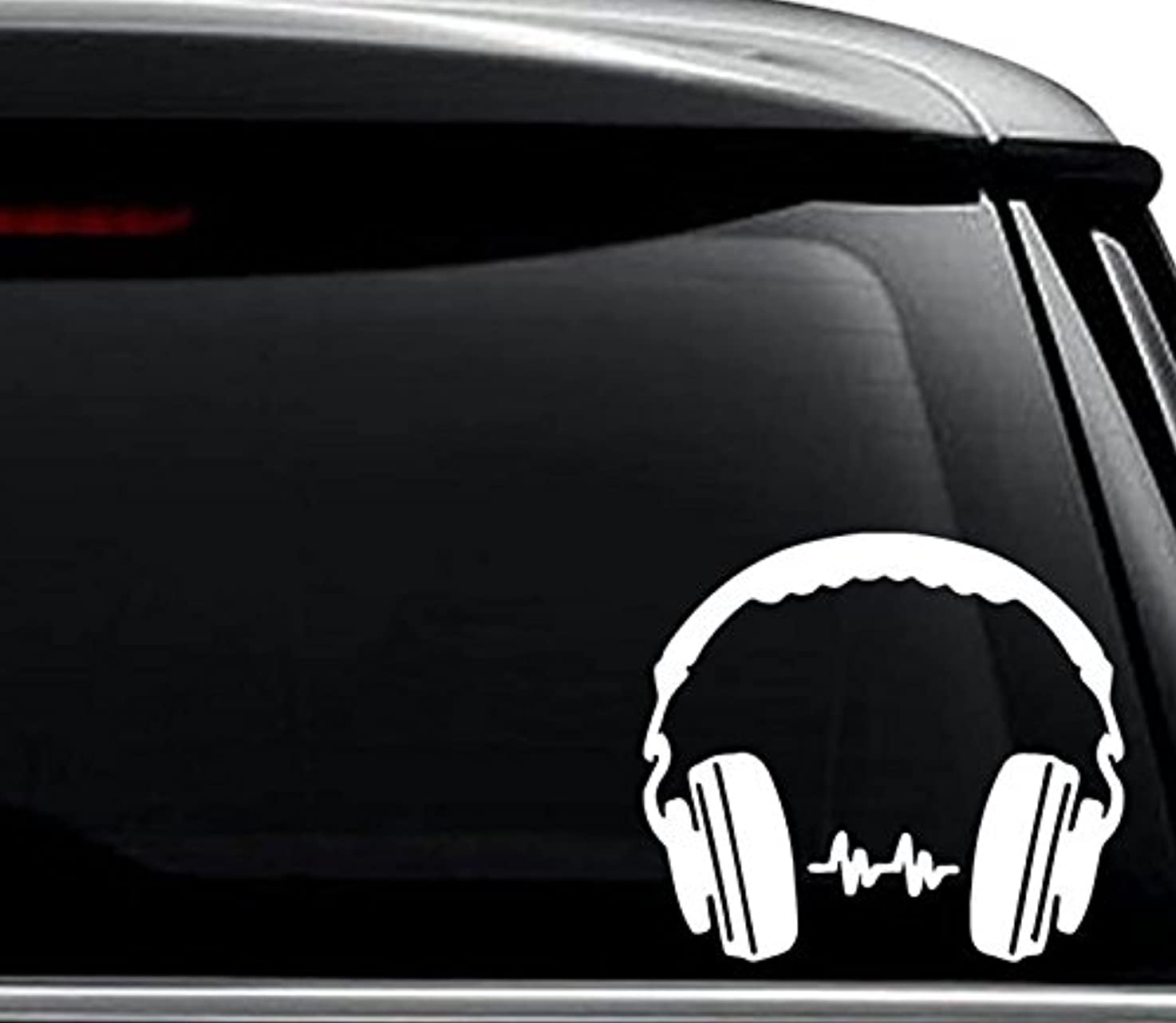 DJ Headphones Music Decal Sticker For Use On Laptop, Helmet, Car, Truck, Motorcycle, Windows, Bumper, Wall, and Decor Size- [12 inch] / [30 cm] Wide / Color- Gloss White