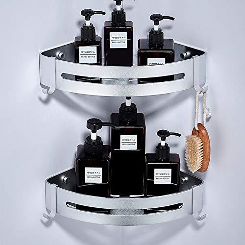 Estante de ducha esquinero para baño con 4 ganchos extraíbles, aluminio sin perforación, 2 niveles, adhesivo montado en la pared para cocina (blanco)