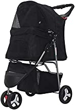 3/4Wheels Pet Stroller, Foldable Dog Cat Stroller Cage Jogging Stroller Travel Carrier Strolling Cart Doggie Stroller with Cup Holder & Storage Basket (Black, 3 Wheels)