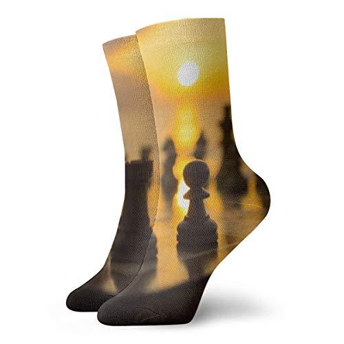 BJAMAJ Unisex Sokken Bordspel Schaken Interessant Polyester Crew Sokken Volwassene Sokken Katoen