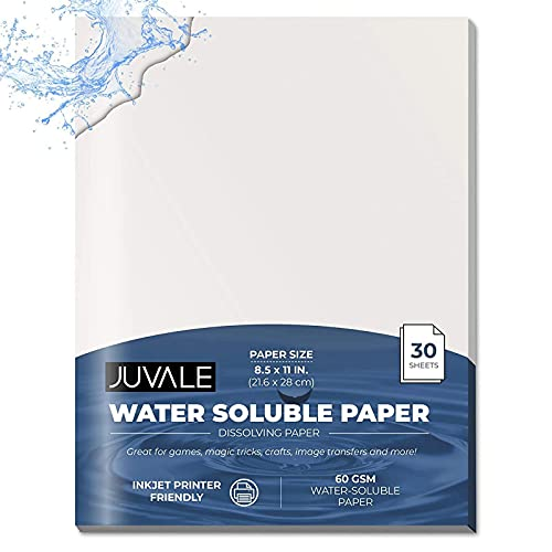 Water Soluble Dissolving Paper, Letter Size Printer Friendly (8.5 x 11 In, 30 Sheets)