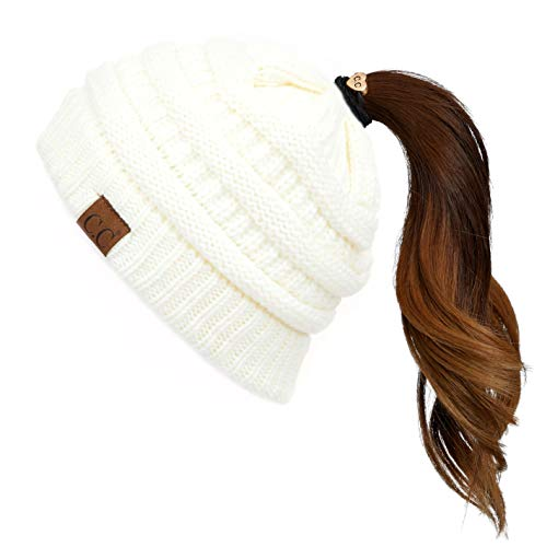 Hatsandscarf CC Exclusives Solid Color Beanie Tail Hat for Adult (MB-20A) (Ivory)