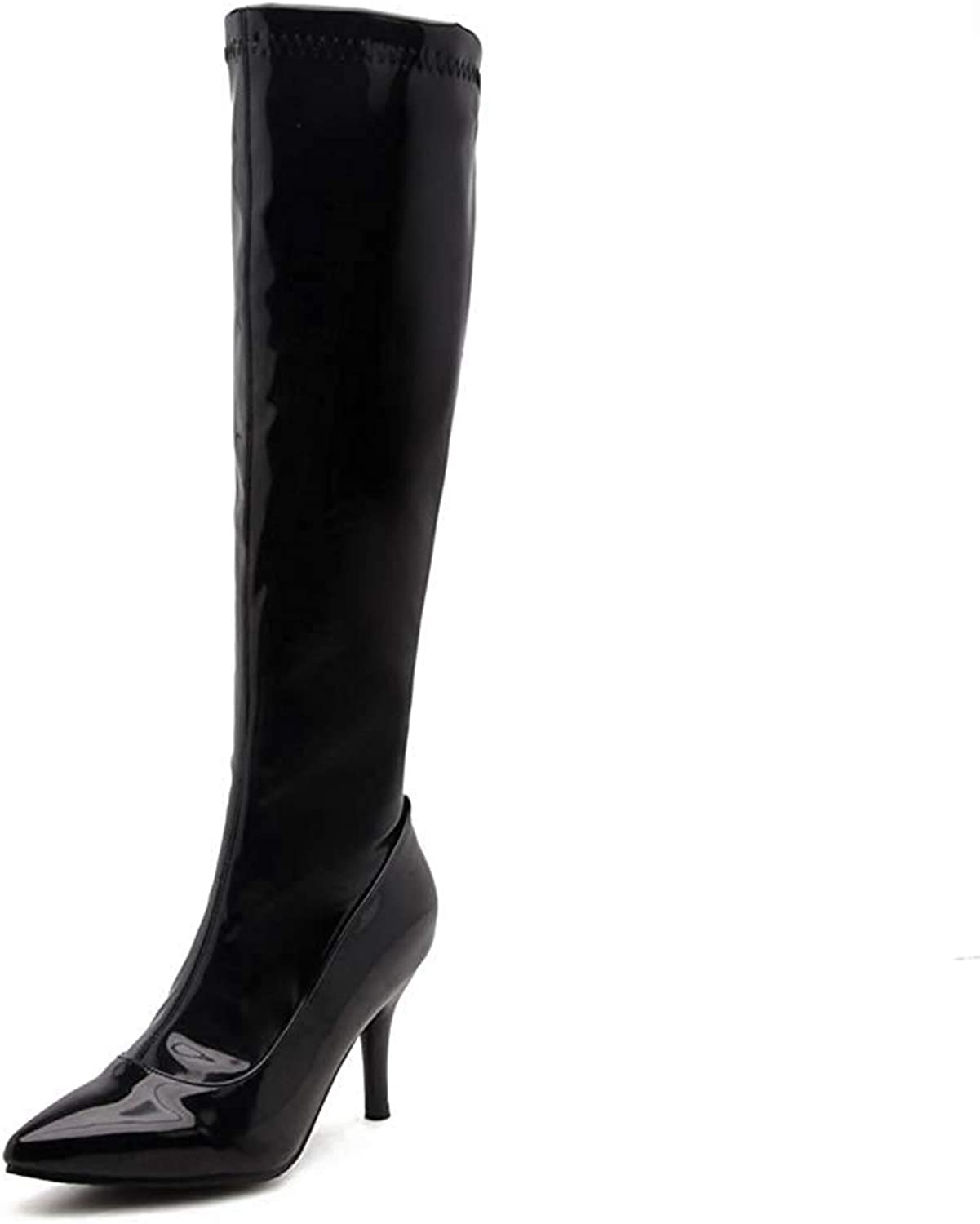 Webb Perkin Women Thin Spike High Heel Party Club Pointed Toe shoes Zipper Sexy Long Boots Lady Knee High Boots
