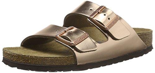 Birkenstock Classic Damen Arizona Leder Softfootbed Pantoletten, Gold (Metallic Copper), 39 EU