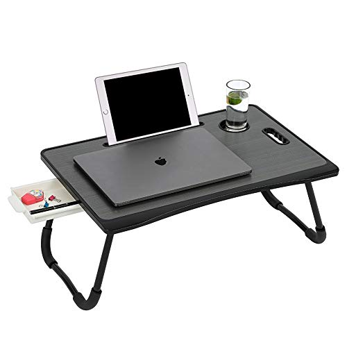 Laptop Bed Desk, Folding Bed Table with Sturdy Legs, Portable Laptop Stand for Bed, Breakfast Tray with a Cup Holder, a Drawer and a Tablet Slot for Study and Work by SAN JIAN