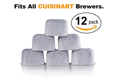 Alisaouse 12-Pack of Compatible Cuisinart Charcoal Coffee Filters,Charcoal Water Filters for Cuisinart Coffee Makers/Fits All Cuisinart Coffee Makers Compatible Filters
