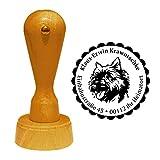 Stempel Adressstempel « CAIRN TERRIER » Durchmesser ca. Ø 40 mm - mit persönlicher Adresse, Motiv und Zierrand - Hund Hunderasse Schottland Jagdhund Schoßhund