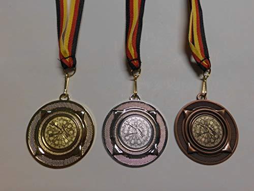 Fanshop Lünen Medaillen Set - Metall 50mm - Gold, Silber, Bronze - Dart - Darts - Dartscheibe - Medaillenset - mit Alu Emblem 25mm - Gold, Silber, Bronce - mit Medaillen-Band - (e277) -