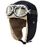 Peicees Vintage Aviator Hat and Goggles Costume Accessories Winter Snowboard Fur Ear Flaps Trooper Trapper Pilot Cap Motorcycle Goggles for Men Women Kids Youth