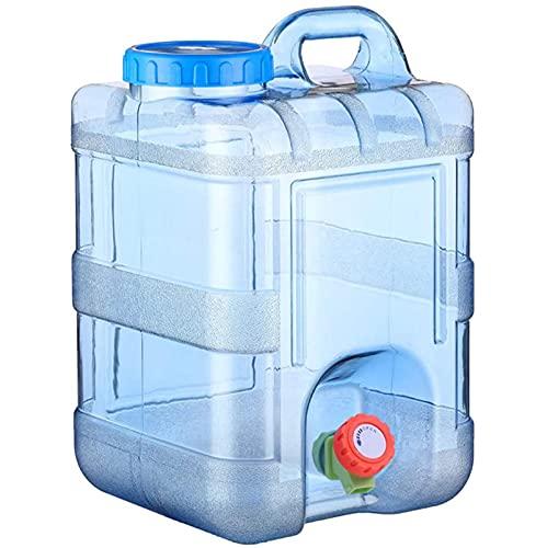 MIAOKU 15L al Aire Libre Contenedor De Agua Portátil Bidón Plástico con Grifo, PC Square Cubo de Coches Auto-conducción Tour Inicio Tanque de Agua Conveniente
