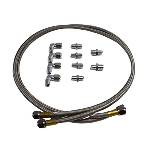 A-Team Performance Braided Flexible Stainless Steel Transmission Cooler Hose Line And Aluminum Fittings Kit Compatible With GM Ford Chevy