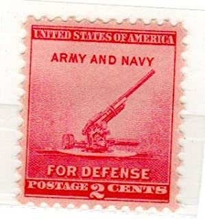 Postage Stamps United States. One Single 2 Cents Rose Carmine, National Defense Issue, 90-millimeter Anti-aircraft Gun, Stamp, Dated 1940, Scott #900.
