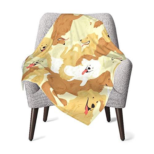 GOWINEU 76 x 101 cm (30 x 40 Zoll) Babydecke mit goldenem Retriever-Muster Schöne Reisedecke Forhome