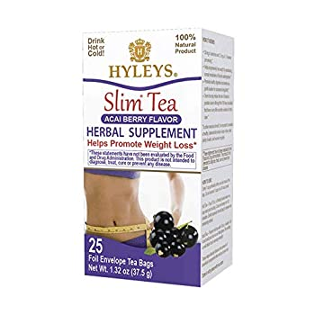 Hyleys Slim Tea Acai Berry Flavor - Weight Loss Herbal Supplement Cleanse and Detox - 25 Tea Bags  1 Pack
