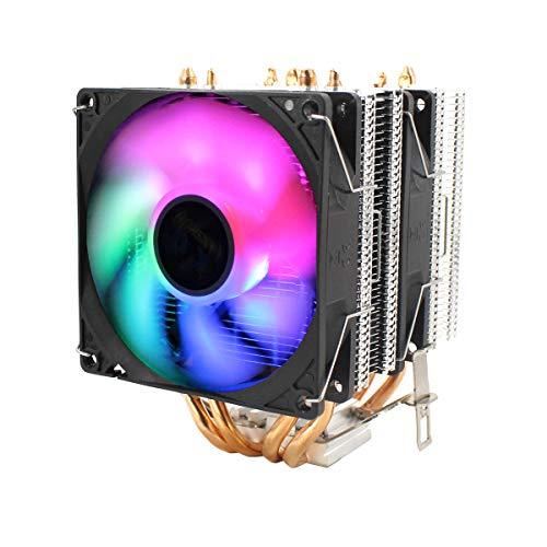 CPU silencioso ventilador de refrigeración dual con tubo de calor Control de temperatura inteligente de 3 cables Ventilador de enfriamiento de refrigeración, adecuado para Intel 775/1150/1151/115 U8Z6