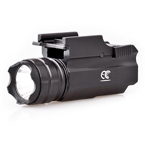 MCCC 500 Lumens LED Rail Mount Tactical Gun Flashlight Pistol Light with Strobe&Weaver Quick Release for Hunting, Black