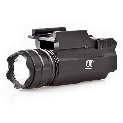 MCCC 500 Lumens LED Rail Mount Tactical Gun Flashlight Pistol Light with Strobe&Weaver Quick Release for Hunting, Black