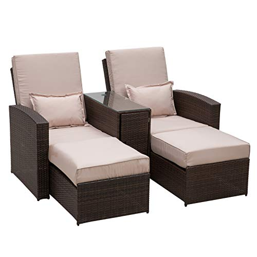 Outsunny Rattan Sofa Chair & Stool Lounger Recliner Sunbed