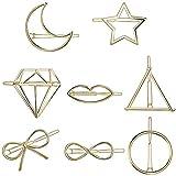 Finrezio 8 Stücke Haarklammer Haarspange für Damen Frauen Hollow Dreieck Runde Schleife Bowknot Haarnadeln Haar Zubehör Gold