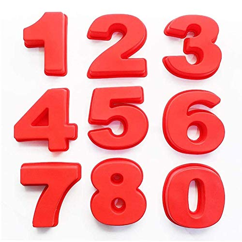 9 Pcs Kuchenform Silikon Zahlen 0-8,Große Silikon Anzahl Kuchenform Backen,Backform Backen für Geburtstag Jubiläum | Geburtstagskuchen Backen