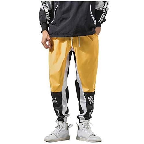 ZODOF Pantalones de chándal de Patchwork de Hombre Pantalón de chándal Holgado Ocio Pantalón de chándal Holgado Ocio Pantalón de Deporte de Hip-Hop Holgado Pantalones Pantalones Bicolor,Amarillo