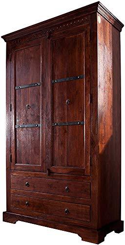 Armadio, armadi, in legno massello di acacia camera da letto in legno ripostiglio, sala armadio, guardaroba,dark brown