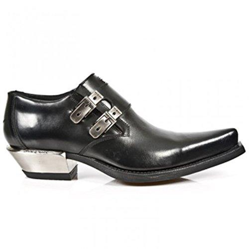 NEWROCK New Rock 7934 - Scarpe con fibbia in pelle nera metallizzata, con tacco in acciaio