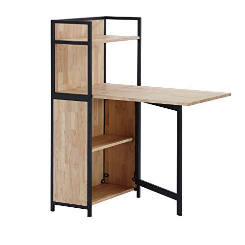 Adec - Shelf, Estanteria con Mesa Plegable para Salon, Comedor o Cocina, Acabado en Roble Salvaje y Negro, Medidas: 62 cm (Largo) x 120 cm (Alto) x 30 cm (Fondo)