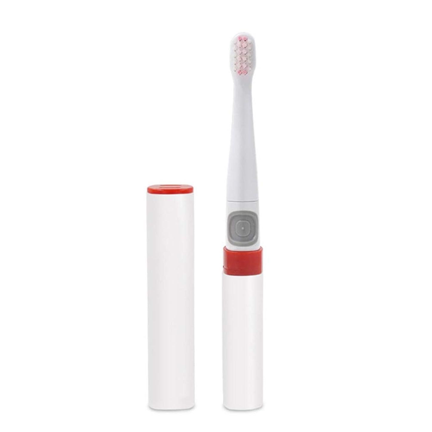 にやにやクロス縮れた電動歯ブラシ、大人の子供のための家の防水歯ブラシ超音波振動柔らかい毛の乾電池の歯ブラシ,白,1Pcs
