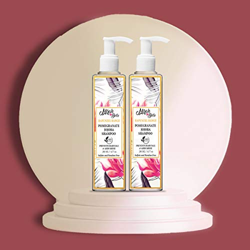 Mirah Belle Organic Pomegranate-Jojoba Heavenly Hair Shampoo (Pack of 2 - 200 ML) - Dry, Damaged and Brittle Hair. Anti Frizz - 400 ml