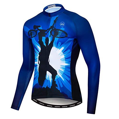 Herren Radtrikot Langarm Pro Brand Team Reflektierende Fahrradshirts Jacke USA - Blau - Groß