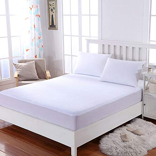Roy Textile Waterproof Terry Towel Mattress Protector, Deep Fitted Mattress Cover (30cm) | Anti-Allergy Non-Noisy Breathable| (Single)