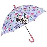 Paraguas Minnie con Moño Multicolor para Niñas de 3 4 5 Años - Paraguas Disney Manual Corta Viento Niña - Paraguas Largo Fantasía Minnie Mouse - Diámetro 66 cm - Perletti