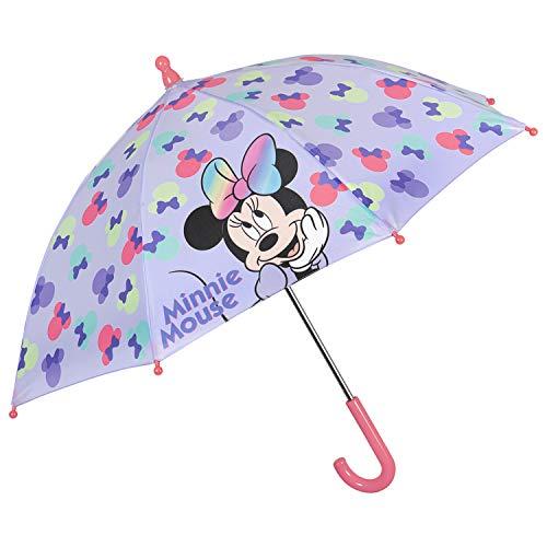 Disney Minnie Mouse Regenschirm Mädchen 3 bis 5 Jahre - Kinder Schirm Minni Maus Violett mit Punkten Mehrfabig - Stockschirm Kinderregenschirm Robust Windfest - Durchmesser 66 cm - Perletti Kids