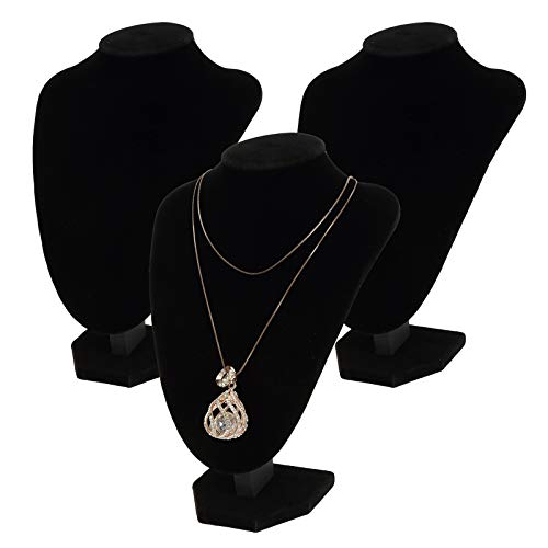 Foraineam 3 Pack Black Velvet Necklace Bust Display 3D Jewelry Chain Organizer Mannequin Model Display Stand Holder