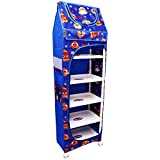 PEAHEN Multipurpose 6 Shelve Baby Almirah/Baby Wardrode with Wheels (Blue)