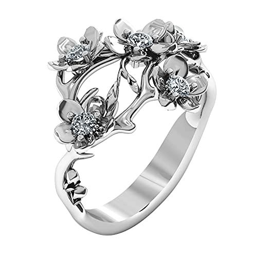 minjiSF Anello a forma di fiore, per ragazze, donne, con zaffiro bianco, in argento, con piccola freschezza, alla moda, per Natale, compleanno, fidanzamento (argento, 10)