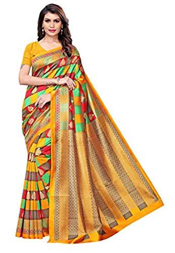 Indische Bollywood Hochzeit Saree indische ethnische Hochzeit Sari neue Kleid Damen lässig Tuch Geburtstag Ernte Top Mädchen Frauen schlicht traditionelle Party Wear Readymade Kostüm(Yellow)