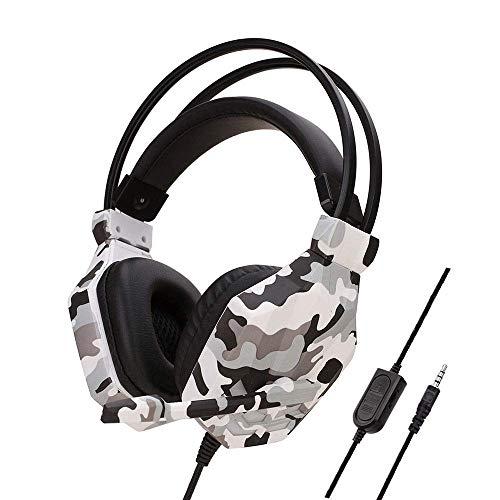 MZZYP Auriculares USB para juegos con cable de 3,5 mm con cancelación de ruido y micrófono para juegos PS4, Xbox One, auriculares de camuflaje (color gris) (color gris)