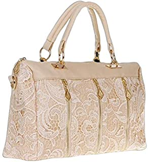 Women's Lady PU (Faux) Handbag Tote Crossbody Shoulder Lace Bag GH9208 Beige