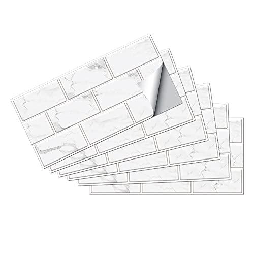 Azulejos Adhesivos Mármol BlancoVinilosCocinaAzulejosAntisalpicadurasVinilosBañoAzulejosImpermeableVinilosdeparedDecorativosPinturaparaAzulejosAdhesivodePared 15x30cm/6 pcs