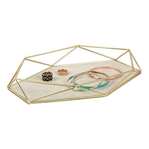 ZXL Cosmetic Organizers Schmuckständer Diamant Kosmetikablage Desktop Regal Ohrringe Ring Uhr Halskette Armband Aufbewahrungsbox (Farbe: Gold, Größe: 23,3 * 16,3 * 3,8 cm)