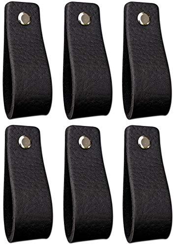Ledergriffe Möbel   Schwarz - 6 Stück   Ledergriff für Schränke, die Küche und Tür   Lieferung mit Schrauben in 3 Farben